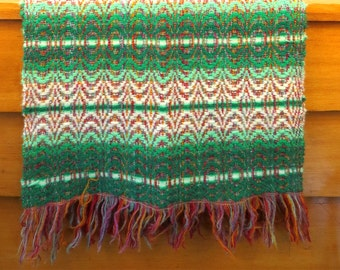 Vintage afghan wool afghan shawl Wool shawl boho afghan Bohemian fashion Bohemian home Boho decor Hippie fashion Brown and Green