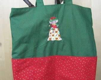 Quilting Elf Red and Gold Sparkles Eco Friendly Tote - Shopping Bag