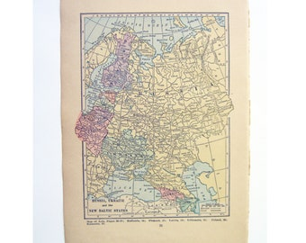 Russia Ukraine Baltic states vintage paper map; Poland on back. Original  1923 in pastel colors.  Frame for wall, paper ephemera.