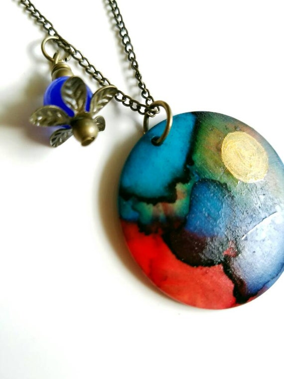 Painted pendant, ceramic pendant, abstract pendant, alcohol ink pendant, colorful  pendant, hand painted necklace, large circle pendant