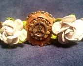 Steampunk Hair Fashion Barrett with Off White Paper Flowers Metal Gear Head Copper on Gold