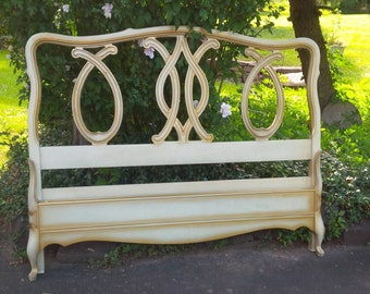 BED Full Size Headboard and Footboard Vintage French Provincial Poppy Cottage Painted Furniture Antique White Finish