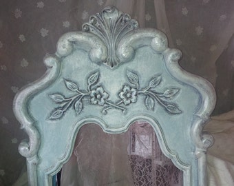 Mirror Charming Arch Top Ornate Shell Fancy Scroll Mirror Poppy Cottage Painted Furniture Vintage