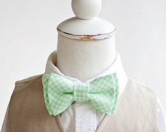 Bow Tie, Boys Bow Tie, Bow Ties, Baby Bow Ties, Bowtie, Bowties, Ring Bearer, Bow ties For Boys, Ties, Mint Bow Tie - Mint Green Gingham
