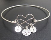 Mothers Jewelry, Family Heart & Infinity Bracelet, Mother's Day Jewelry, Wife Birthday, Gift for Mother from Son, Personalized Mom Bracelet