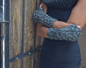 Knit arm warmers fingerless gloves hand knit mitts gift for her grey shades multicolor