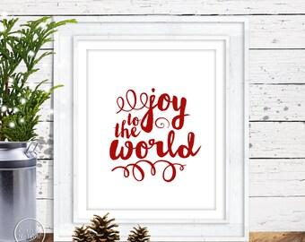 Joy to the World Christmas Printable Art - 8x10 Red