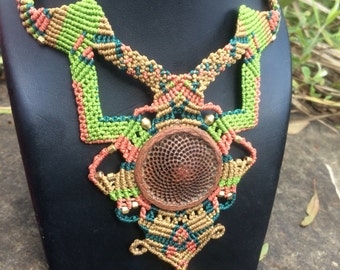 Natural Sacred Geometry Protea flower pod Macrame Necklace
