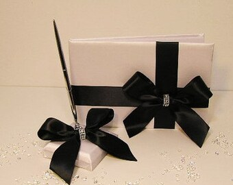 Wedding Guest Book White and Black and pen holder set -made to order ,Custom Made