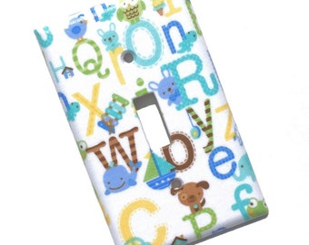Alphabet ABC Blue Light Switch Plate Cover