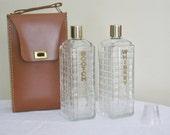 Vintage Leather Like Liquor Bottle Travel Set Scotch Whiskey Glass Decanters,  Karoff Originals Carry Case with Handle