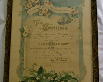Antique Framed Holy Matrimony Certificate, Early 1900s Victorian Print of Flower Bunches Silver Wedding Bells and Lilies of the Valley