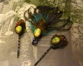 Olive Green Opal Pheasant Ostrich Hair Clips, Set of 3