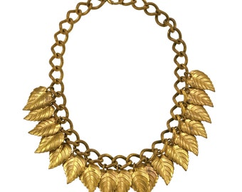 Vintage 1930s Haskell-esque Brass Leaves Bib Necklace
