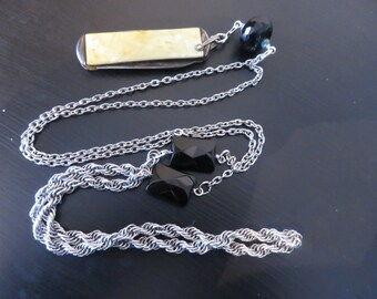 Vintage Art Deco pearl folding knife   knife necklace  vintage chain with black czech glass beads