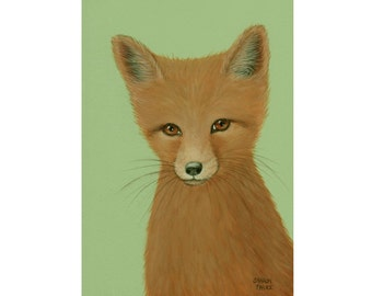 "FOX PAINTING  Animal Painting  Wildlife Art  Original Fine Art 5 x 7"" by Sharon France  Nursery Art  Acrylic on Archival Panel Painting"