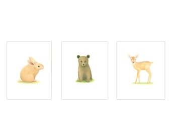 ANIMAL PRINTS NURSERY Art  3 Print Set  baby Boy Nursery Wildlife Nursery Prints  Nursery Art Baby bear, rabbit, fawn, deer prints