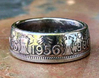Two Shillings Coin Ring - 1956 Great Britain Two Shillings Coin Ring - Size: 8 1/4