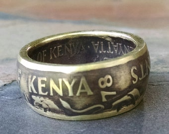 Kenya Coin Ring - 1978 Kenya 10 Cent Coin Ring - Size: 8
