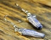 Valentine SALE - Kyanite Earrings, Kyanite Silver Earrings, Kyanite Slice Earrings, Kyanite Pendant Earrings, Blue Stone Earrings, Sterli...