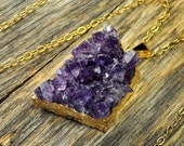 Valentine SALE - Amethyst Necklace, Purple Amethyst Cluster Pendant, Amethyst Pendant Necklace, Amethyst Gold Necklace, 14k Gold Fill Chain