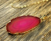 Valentine SALE - Agate Necklace, Hot Pink Agate Necklace, Agate Slice Pendant, Agate Slice Necklace, Agate Gold Necklace, 14k Gold Fill