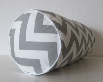 Bolster Pillow Cover - Grey chevron - zig zag - bolster pillow cover