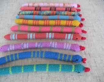 FREE SHIPPING 3 Certified Organic Catnip/Valerian or Certified Organic Catnip Toy Snake, hand-crochet with high quality wool/bamboo yarn.