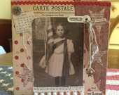 SPECIAL PRICE 4th of July Vintage Style Canvas featuring Old Photo Girl with Flag