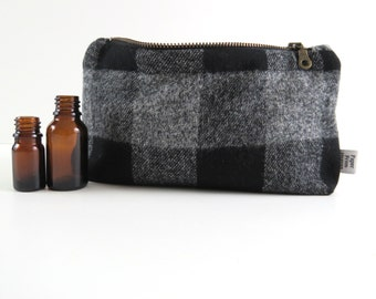 Plaid Essential Oil Case - Big Grey Buffalo - Pick Your Size - cosmetic bag zipper pouch essential oil bag