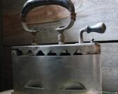 Vintage - Sad Iron - Cast iron with leather handle grip