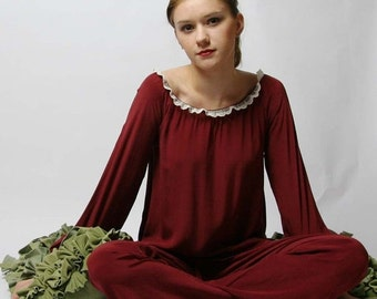 silk night shirt with bishop sleeve in crepe de chine - NOELLE sleepwear - ready to ship