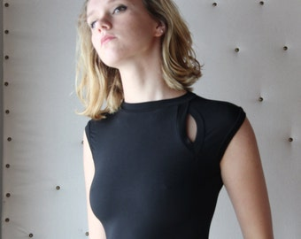 little black dress with asymmetrical keyhole detail in viscose of bamboo - ICON bamboo sleepwear and lingerie range - made to order