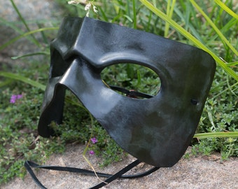 Black Leather Frowning Leather Mask