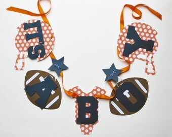NEW Larger Size Football baby shower decorations orange polka dots and navy blue it's a boy banner by ParkersPrints on Etsy