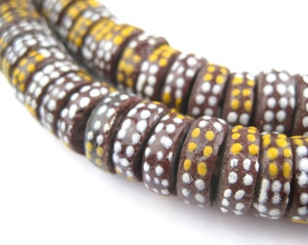 135 African Aja Beads - Krobo Powder Glass Beads - African Glass Beads - Jewelry Making Supplies - Made in Ghana ** (KRB-DISK-MIX-294)