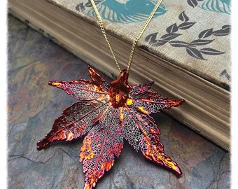 One Iridescent Copper Japanese Maple Leaf Pendant Necklace 18 inch Chain Bestseller