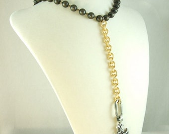 Ball Chain and Gold Necklace with Cross (BoyJewels)