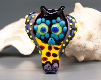 Michou Pascale Anderson - Day Of The Dead lampwork owl / Glass bead including my signature
