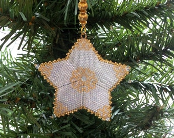 Christmas Star Ornament Tree Decoration in gold lined opal crystal clear peyote stitch with custom hanger