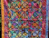 MarveLes BATIK Storm at Sea Quilt Multiple Bright Colors Turquoise Pink Green Yellow Orange