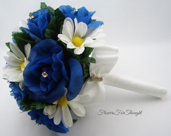 Royal Blue Rose Bouquet w. Shasta Daisies, Bride or Bridesmaid Flowers