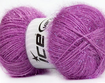 ice yarns sparkle lurex lavender  sparkly fuzzy soft 100gr 1 skein knitting shimmering sparkly material shipping at usps cost 35788