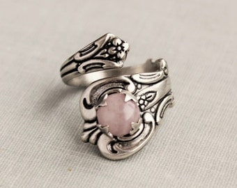 Rose Quartz Spoon Ring. 9 Gemstones to choose from.