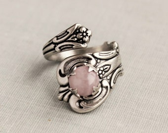 Rose Quartz Spoon Ring