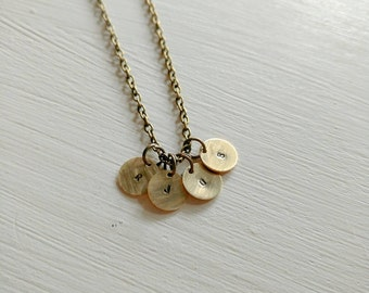 Initial necklace. Hand stamped necklace. Simple jewelry. Gold. Custom. Personalized. Monogram. Brass. Mom necklace. Modern. Mother. Brass