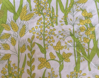 Vintage Sheet, Yellow and Green, Grasses, Wamsutta Ultracale Double Flat 81 x 104  50/50 polycotton, Salvaged Fabric, Vintage Fabric