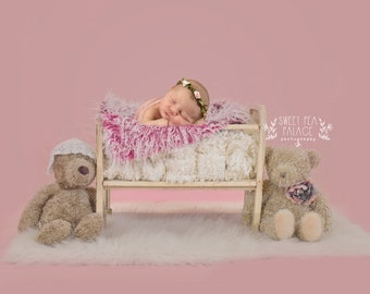 Instant Download Photography Prop DIGITAL BACKDROP for Photographers - Pink Girl Shabby Bear Friends - Digital Background