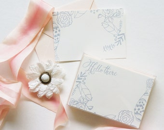 Flower Stationery Set, Boxed Stationery, Illustrated Stationery, Flower Cards, Hello There Card, XOXO Card, Blush Stationery Gray Stationery