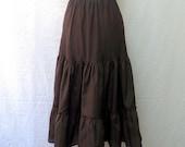 1950s Vintage Taffeta Petticoat / Dark Brown Tiered Under Skirt